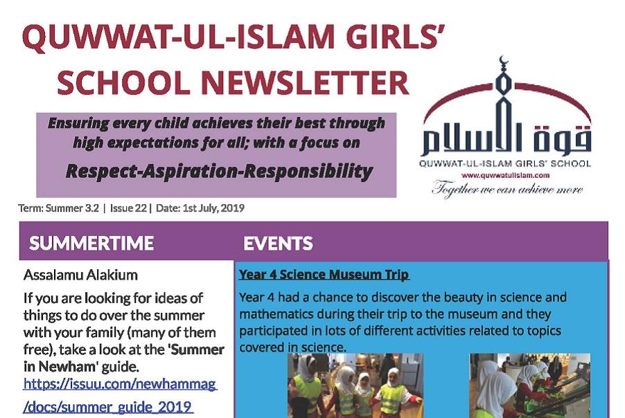 Newsletter - 01/07/19 - Quwwat-ul-Islam Girls' School